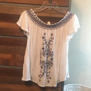 Beautiful cream, navy patterned blouse